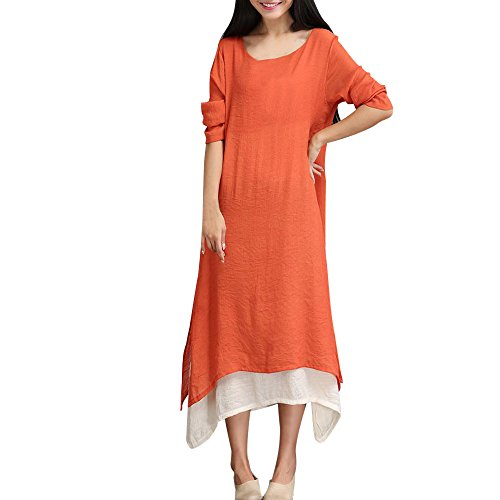 Junjie Damen Sommerkleid Plus Size Bohemia Casual Solid V-Ausschnitt Kurzarm Baumwolle Leinenkleid Elegant Vintage Strandkleid A-Linie Kleid Frauen Minikleid Sommer Party Ballkleid, 3XL,  Orange