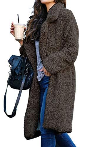 Angashion Damen Winter Revers Parka Wollmantel Trenchcoat Mantel Strickjacke Steppjacke Cardigan Dunkelgrau XL