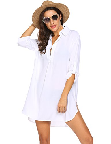 367ab51933 Unibelle Bikini Cover Up Tunika Bluse Lang Strandkleid Damen Push Up  Strandponcho Sommer Cuffed Sleeve Shirts