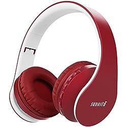 Sunvito Auriculares Bluetooth 4.0 de Diadema Plegable,4 en 1 Estéreo Bass Inalámbrico Auriculares con Reproductor MP3,FM Radio,Auriculares con Cable,Mic Arriba-Oreja para iPhone PC Andriod(Vino rojo)