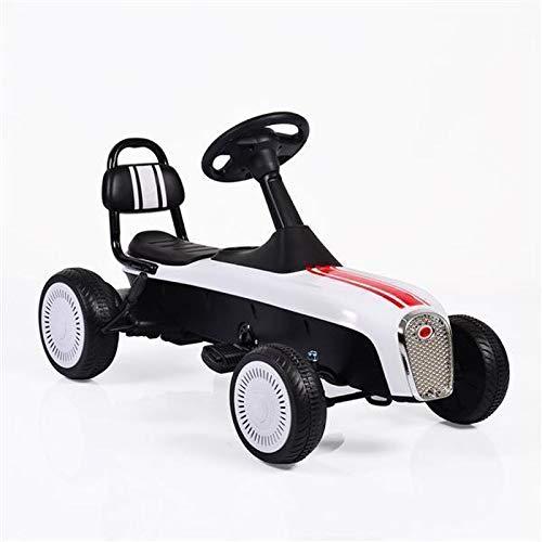 Moni Kinder Gokart, Tretauto, Go Kart K02 Retro, PVC-Reifen, Handbremse, ab 3 Jahre (Weiss)