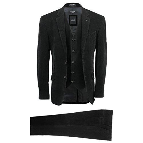 Xposed Herren Anzug schwarz schwarz Gr. Brust 60,Hose 112 cm, schwarz (Cord-anzug)