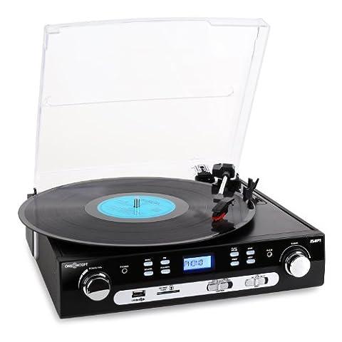 oneConcept TT-70 Allround Schallplattenspieler USB-Plattenspieler mit Radio (REC- / Aufnahme-Funktion zum digitalisieren, MP3-fähige USB /SD/MMC-Slots, AUX)