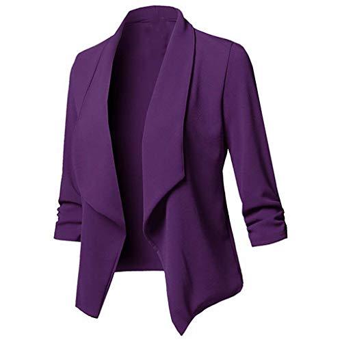 SHUBIHU Frauen Jacke Mantel Lange Ärmel Einfarbig Strickjacke Tops Blazer Shirt Bluse Neu 2019 (Lila, M)