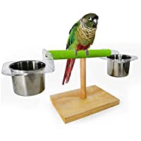 POPETPOP Parrot Training Perch Stand-Portable Bird Perch with Feeder Dish Cup Table Playstand for Small Bird Parrot Budgies Parakeet Cockatiel Cockatoo Conure