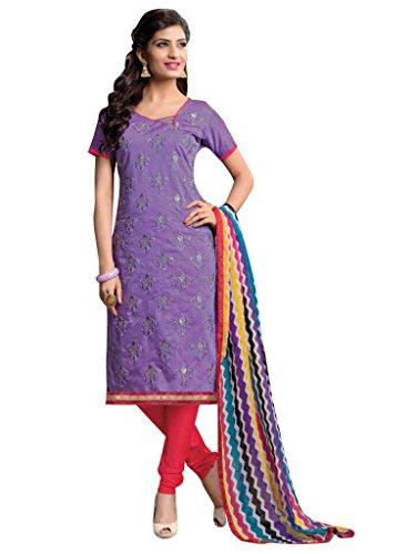Vibes Women's Cotton Straight Fit Unstitched Salwar Kameez (V90-2203_Purple)