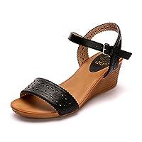 Alexis Leroy Hollow Out Open Toe Buckle Women Wedge Sandals Black 6 UK / 39 EU