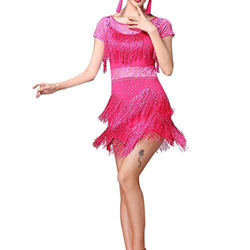 Jazz Fringe Kostüm Dance - KINLOU Kurzarm Quasten Fringe Kleider - Damen Latin Dress Leistung Wettbewerb Kostüme, Rose Rot/XL
