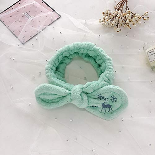 CFADAI Gesicht Waschen Stirnband Haarbänder,Haarband Stickerei Elk Schnee Blumenstrauß Haar Band Mint Grün Plüsch Damen Koreanische Version des Haarband Haarschmuck Waschen -