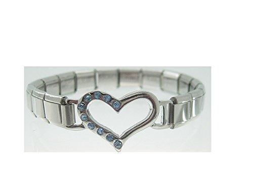 Open Italian-Braccialetto con maglie a forma di cuore con pietre blu, 10 Italiano 9 mm, lunghezza per Zoppini, e pendenti stile Talexia Nomination
