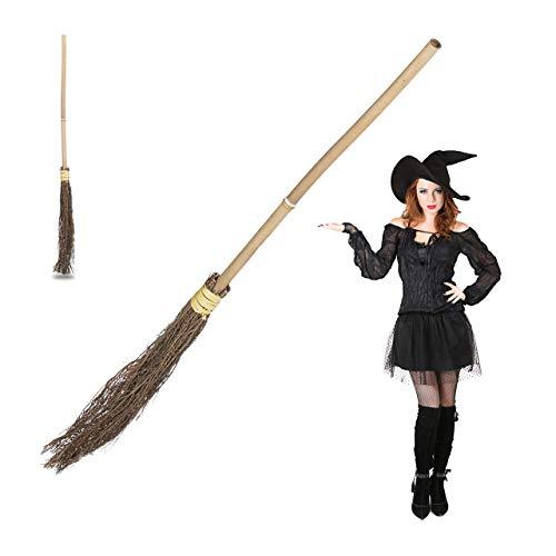 2 x Hexenbesen, Reisigbesen mit Bambus-Stiel, Hexenzubehör für Kinder und Erwachsene, Kostüm, Deko, 93 cm lang, natur (Kinder Besen Hexe)