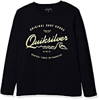 Quiksilver Boys' Classic Youth West Pier Long Sleeve Screen T-Shirt, Black, Large/Size 14