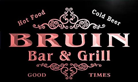 u05732-r BRUIN Family Name Bar & Grill Cold Beer Neon Light Sign Enseigne Lumineuse