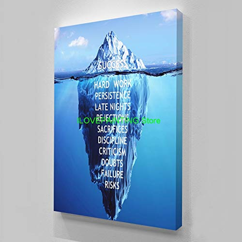 Battle of the peak HD Gedruckt 1 stück Leinwand Inspirierend Erfolg Zitat Poster Ice Mountain Unterwasser Malerei Motivierend Zitat (Color : Success Quote, Size (Inch) : A4 21x30cm no Frame)