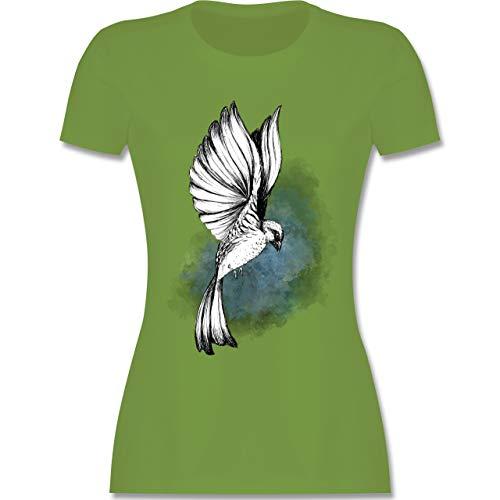Vögel - Vogel Aquarelle Zeichnung - S - Hellgrün - L191 - Damen Tshirt und Frauen T-Shirt (Vogel-zelt Medium)