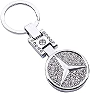 AutoDIY Mercedes Benz car Keychain Car Logo Key Ring 3D Metal Emblem Pendant Double Side Zircon Crystal Decora