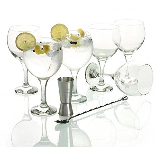 LAV - Set Gin Tonic con 6 Copas de Balón, 1 Vaso Dosificador, 1 Cuchara Mezcladora y Recetario