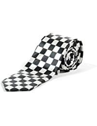 New Black and White Check Skinny Tie - SKA (Black and White)