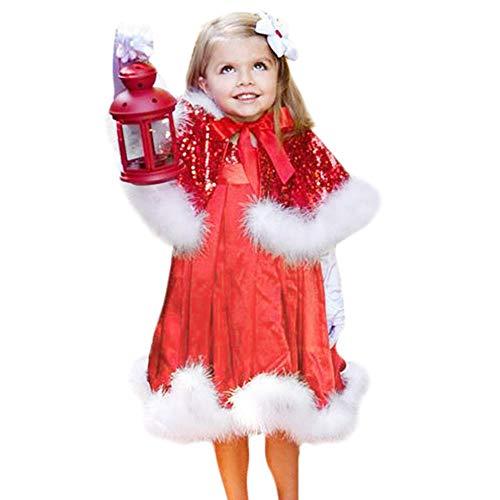 LANSKIRT Weihnachten Kinder Mädchen Party Tutu Kleid + Schal Weihnachten Set Outfit Babykleidung Satz (120, Rot)