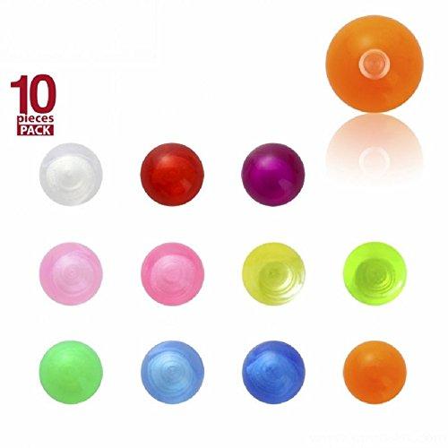 Acrylique–Boule à visser–Uni–Lot de 10baguettes (Piercing Embout Boule à visser pour, labrets etc.) T-PP - Transparent Violet / Violet