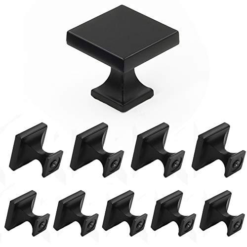 Homdiy HD6785SNB Möbelknöpfe, quadratisch, gebürstetes Nickel, modern, rustikal, Metall, Möbel, Bad, Schrank, Kommode, Schubladen, Knöpfe, Ziehgriffe aus satiniertem Nickel 10 Counts schwarz -