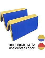Tapis de gymnastique Tapis de sol souple 4 x pliable 200 x 100 x 8 cm Bleu/Jaune