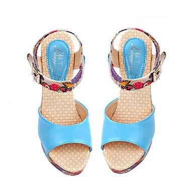 LvYuan Damen-Sandalen-Lässig-PU-Niedriger Absatz-Komfort-Blau Rot Weiß Beige Blue