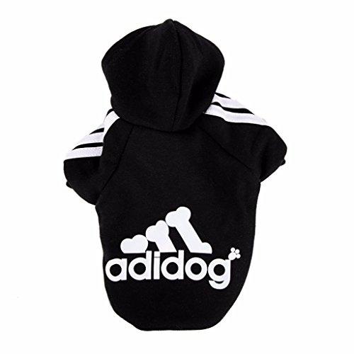 Adidog,Original Hundekleidung,Für kleine&Große Hund(S bis 8XL)Farbe:Schwarz/Rot) ((XL)Hals:29cm Brust:50cm Rück(Körperlänge):35 cm, Schwarz)