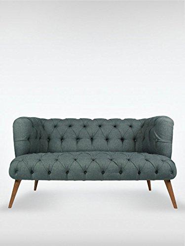 2 Sitzer Vintage Sofa Couch Garnitur Palo Alto Dunkelgrau 140 Cm X