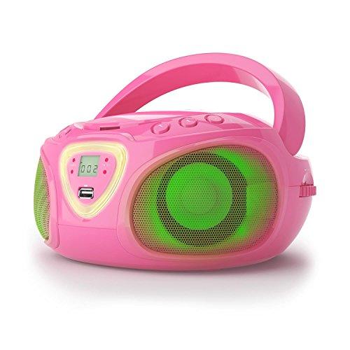 Auna Roadie • Radio CD • Stereo • Boombox • Lettore CD • Porta USB • MP3 • Radiotuner • Bluetooth 2.1 / EDR • Ingresso RCA da 3,5 mm/AUX • LED Funzionamento Rete e Batteria • Rosa