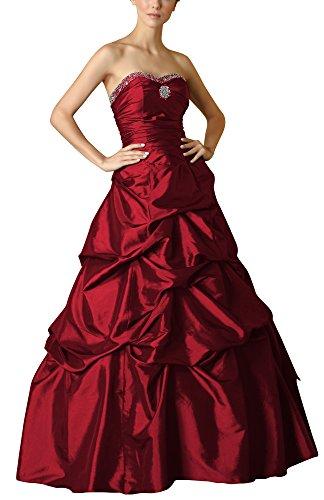 Romantic-Fashion Damen Ballkleid Abendkleid Brautkleid Lang Modell E469 A-Linie Perlen Pailletten DE Bordeauxrot Größe 44 (Satin Rock Perlen)