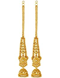 GoldNera Real Gold Design Look In 22KT Gold Plated With Ear Chain Party Earrings
