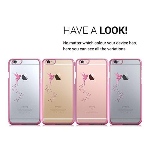 kwmobile Cover per Apple iPhone 6 Plus / 6S Plus - case protettiva per cellulare custodia smartphone back cover trasparente Design fata fucsia trasparente fata fucsia trasparente