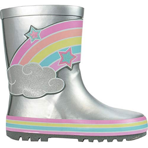 Girls Silver Glitter Rainbow Wellies Wellington RAIN Snow Boots UK Size 8-2