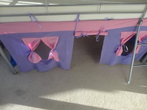 COSY STARS METAL MID SLEEPER CHILDREN CABIN BUNK BED WITH FUN PLAYFUL TENT (PURPLE / PINK)