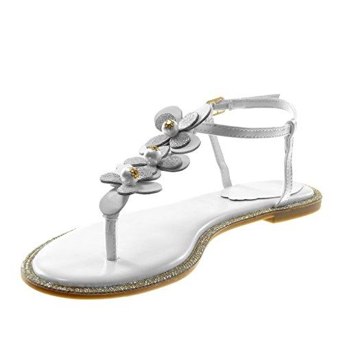 Angkorly Scarpe Moda Sandali Infradito con Cinturino Alla Caviglia Cinturino Donna Fiori Perla Strass Tacco a Blocco 1 cm Bianco
