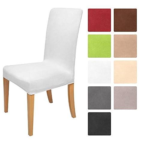 Beautissu Housse strech Mia pour chaise - 45x45cm - Elegante moderne - Coton - Bi-Elastique - OEKO-TEX - Blanc
