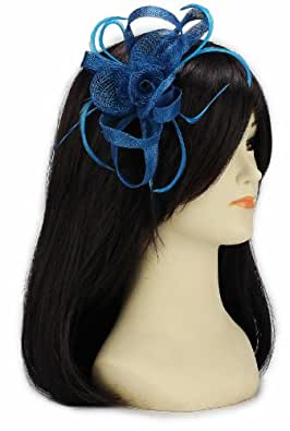 KCMODE große Federn Mesh Blume geloopt Haarband Fascinator Teal blau