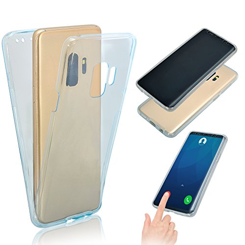 Vandot Etui Transparent Case pour Samsung Galaxy S9 [Full Protection] Coque de Protection en TPU Gel Invisible avec Absorption de Chocs Etui Galaxy S9 Doux TPU Silicone Case 360 Degrés de Protection Ultra Slim Thin Hull pour Samsung Galaxy S9 [Exact Fit] Souple Couverture - Bleu