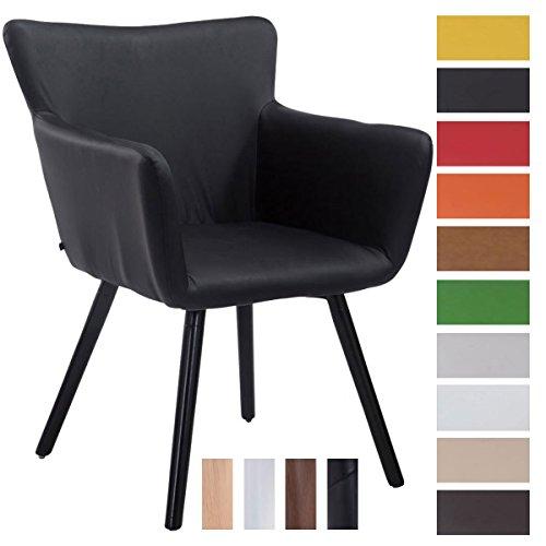 Clp sedia visitatore design antwerpen, similpelle - poltroncina rétro con schienale e braccioli imbottiti i sedia soggiorno in legno, facile da pulire, portata max 160kg nero colore base: nero