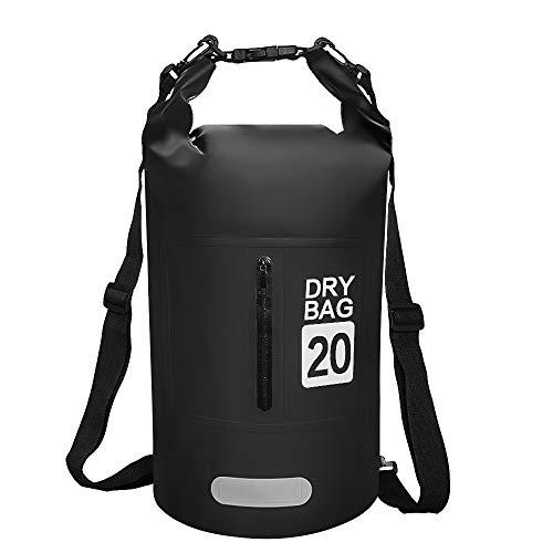 phixilin Dry Bag, Wasserdicht Tasche 20L Waterproof Trockener Beutel mit Verstellbarer Schulterriemen Wasserfester Packsack für Kayaking Fischen Schwimmen Kampieren Snowboarding Wassersport