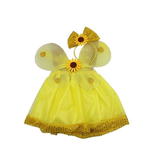 BESTOYARD Kinder Mädchen Fee Kostüme Sonnenblume Schmetterlingsflügel Stirnband Tutu Rock Party Kostüm 3-teiliges - Sonnenblume Kostüm Stirnband