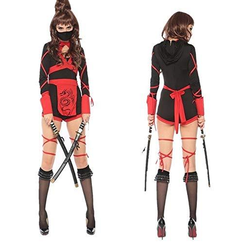 Kostüm Weibliche Scary - XUDSJ Halloween,Lack Kleid,hexenkostüm, Halloween Scary Kostüm Weibliche Mode Samurai Kostüm Anzug Kostüm Party Dekoration (Color : Black, Size : XL)