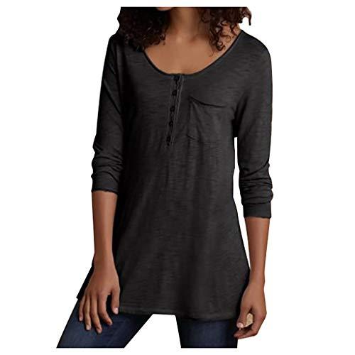 Damen T-Shirt Oberteile Langarmshirt Mode Frau Beiläufig Einfarbig Langes T-Shirt mit Knopfleiste und O-Ausschnitt Basic Shirts Blusen Tops Hemd Oberteil T-Shirt Pullover Sweatshirt - Bob Marley-baby-kleidung