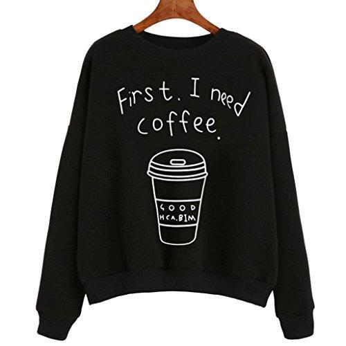 Fulltime® Femmes manches longues Blouse lettre impression Sweatshirt pulls Noir