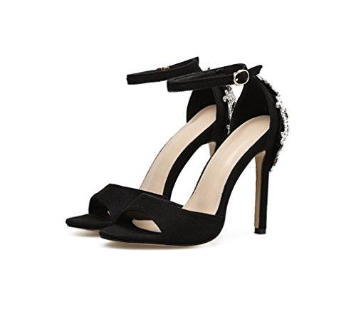 LIANGXIE Women's Fine Heel Sandalen-stilvolle Runde-Kopf-Sandalen-Reine Farbe Samt nach Tasche Wasser-Bohrer Sandalen-Comfort Heel Schuhe Zhhzz (Farbe : Schwarz, Größe : 41) - Lulu Womens Ankle Strap