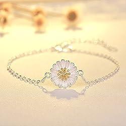 BAOZIV587 Summer Little Daisy Earrings Women's Joker Pequeño Fresh Sun Flower crisantemo Tremella conjunto de joyas, C crisantemo pulsera