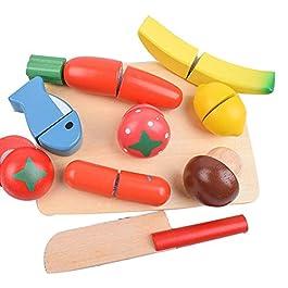 Isuper Divertimento in Legno Taglio Giocattoli Cucina Taglio Frutta Verdure Set Cibo simulato Pretend Gioca Cibo e Tagliere Playset 10Pcs
