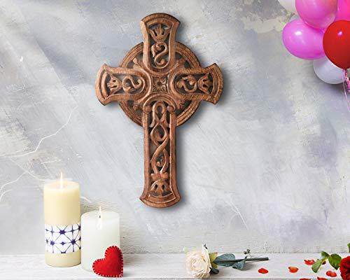 Store Indya - handgefertigte Holz Kreuz - Wohnzimmer Wohnkultur Zubehör - Holz Kruzifix - katholisch - Wand montiert - antibakteriell (französische Plaque-Sammlung) (religiöse Cross Collection)