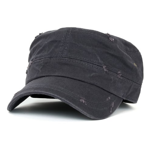 ililily Distressed Cotton Cadet Cap with Adjustable Strap Army Style Hut (cadet-527-2)